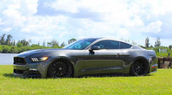 bagged mustang gt 0 600x334 at 2015 Mustang GT Bagged on HRE Wheels