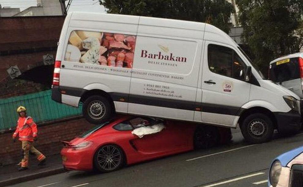 Van Mounts Porsche Cayman In Bizarre Accident