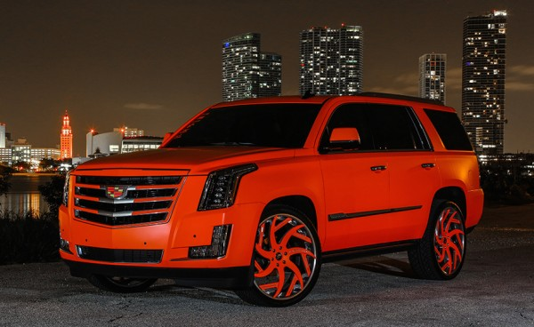 matte orange Cadillac Escalade-0
