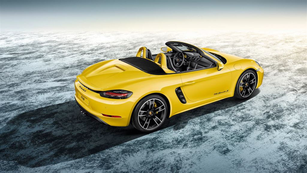 Porsche 718 Boxster Exclusive In Racing Yellow on instrument cluster clock