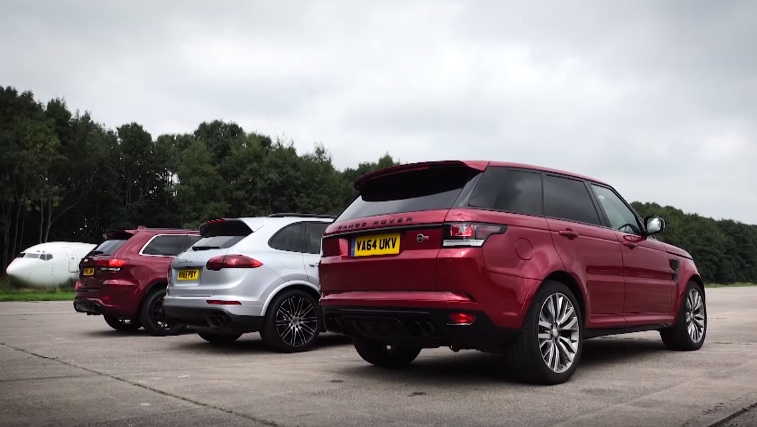 range rover sport svr takes on cayenne turbo and cherokee srt. Black Bedroom Furniture Sets. Home Design Ideas