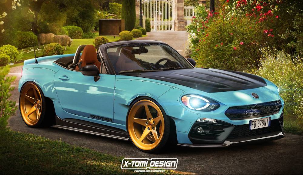 rendering fiat 124 spider rocket bunny. Black Bedroom Furniture Sets. Home Design Ideas