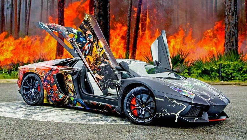Gallery Lamborghini Aventador Roadster With Superhero Wrap