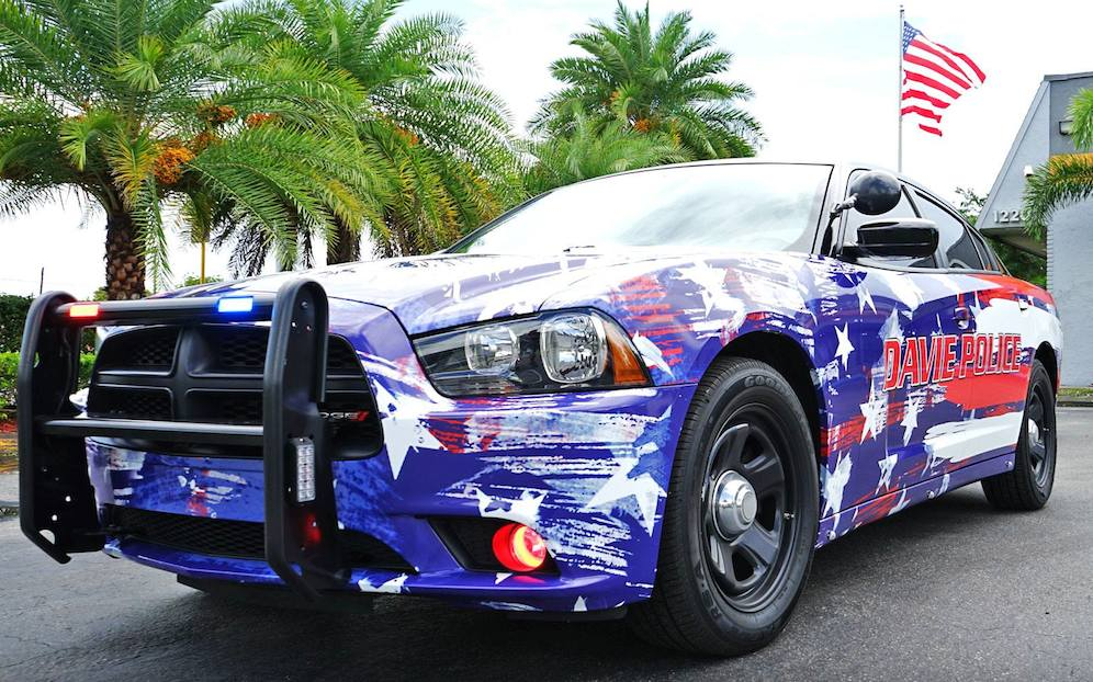 dodge charger police car gets 4th of july wrap. Black Bedroom Furniture Sets. Home Design Ideas
