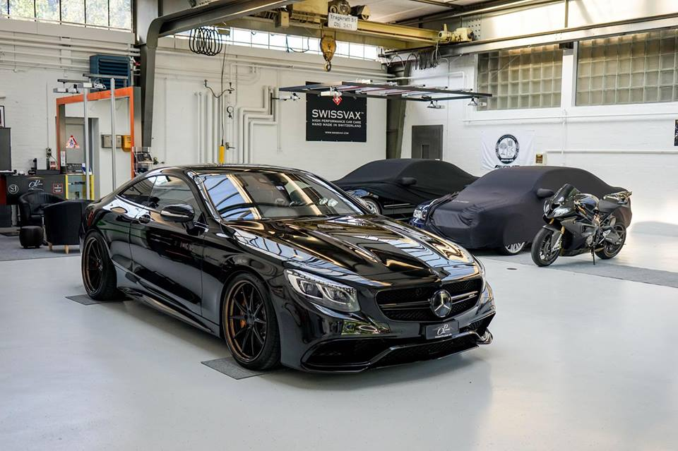 Murdered out mercedes s63 coupe by platinum cars for Garage amg auto