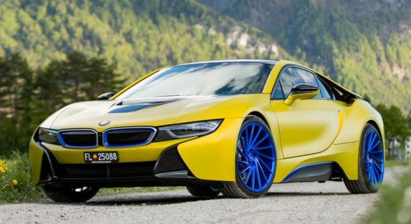 Color Therapy Matte Yellow Bmw I8 On Blue Wheels Blogs Bloglikes
