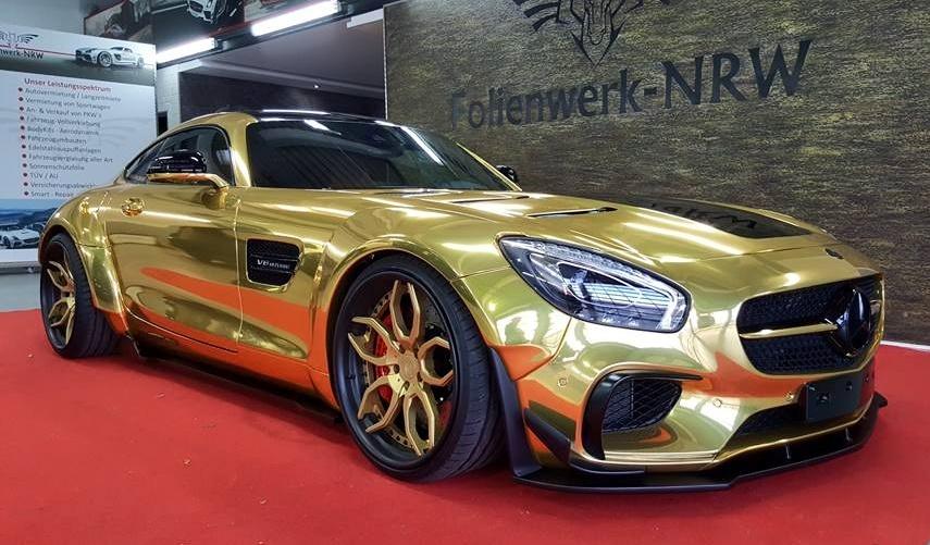 Chrome Car Wrap >> Chrome Gold Prior Design AMG GT Prepared for Essen