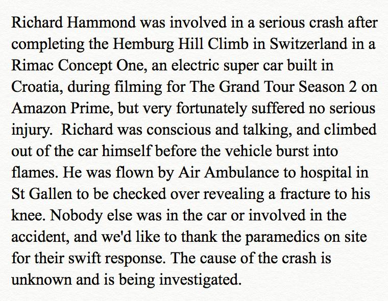 grand tour statement at Richard Hammond Crashes £2M Hypercar on Set of Grand Tour