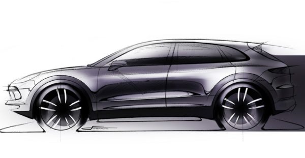 2018 cayenne sketch 600x311 at 2018 Porsche Cayenne Previewed in Official Sketch