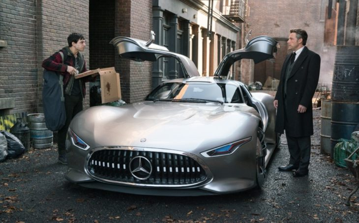 justice league superheroes drive mercedes benz in new movie