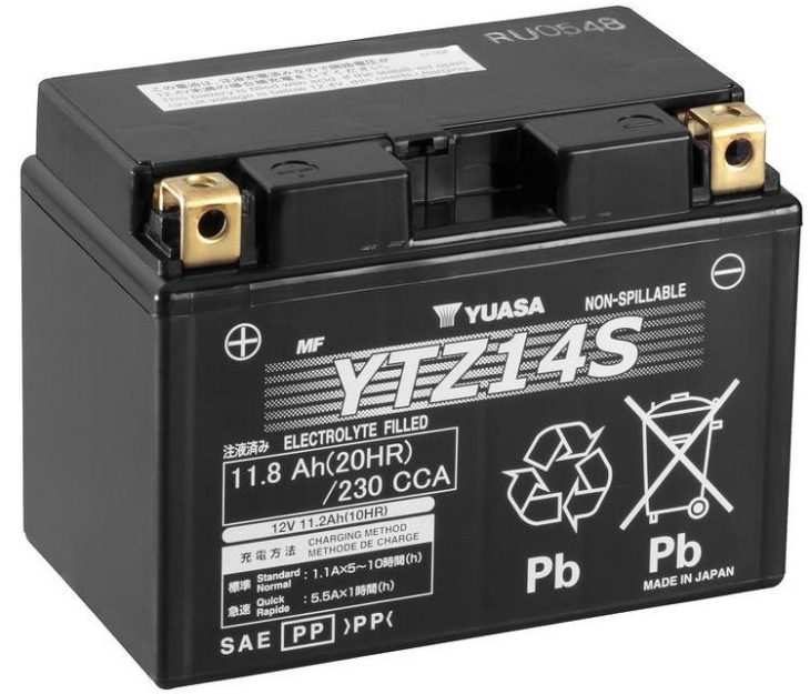 yuasa ytz14s motorcycle battery 1303 p 730x625 at Common Reasons Your Motorcycle Battery Is Going Flat and How to Prevent Them