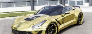 Golden Corvette Stingray Wide Body by Forgiato