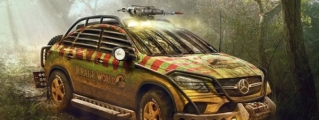 Mercedes GLE Rendered in Jurassic Park Guise