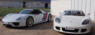 Porsche Carrera GT vs Porsche 918 Drag Race