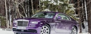 Purple Rolls-Royce Wraith in the Swiss Alps