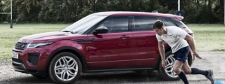 Range Rover Evoque Goes Head to Head with Rugby Player
