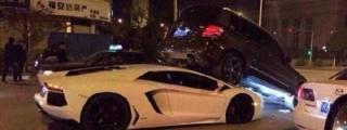 Lamborghini Aventador Gets Wedged Under Mercedes GLK in Strange Crash