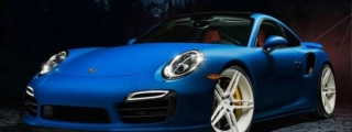 Blue Porsche 991 Stands Out on White ADV1s