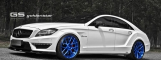 Blue-Wheeled Mercedes CLS63 AMG by Golden Star