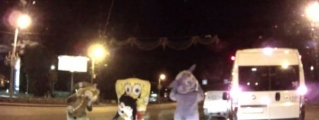 Hilarious Road Rage: Cartoon Characters Beat Up an Angry Driver!