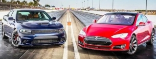 Dodge Charger Hellcat Takes on Tesla Model S P85D