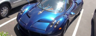 Extremely Gorgeous Blue Pagani Huayra on the Road