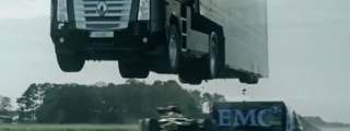 EMC Truck Jumps Over Lotus F1 Car!