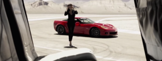Model Chloe Mortaud Enjoys Drifty Ride in Corvette Z06