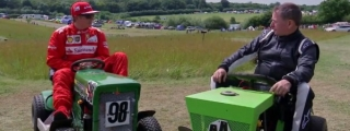 Raikkonen Finally Wins a Race… a Lawnmower Race!