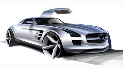 Mercedes SLS AMG Gullwing sketches + interior 2011 mercedes benz sls amg 2