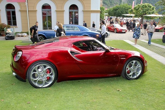 Red Alfa Romeo 4C 4 at Red Alfa Romeo 4C at Villa dEste   Pictures and Video