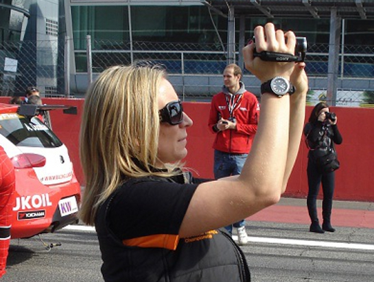 video shooting on the grid of the wtcc at Lotus Ladies Cup: Interview with Anett Kõváry
