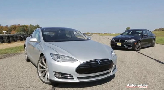 Tesla Model S vs BMW M5 at Drag Race: Tesla Model S vs BMW M5 F10