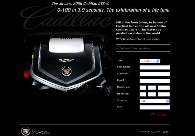 cts v roars 2 at Cadillac CTS V microsite for middle east buyers