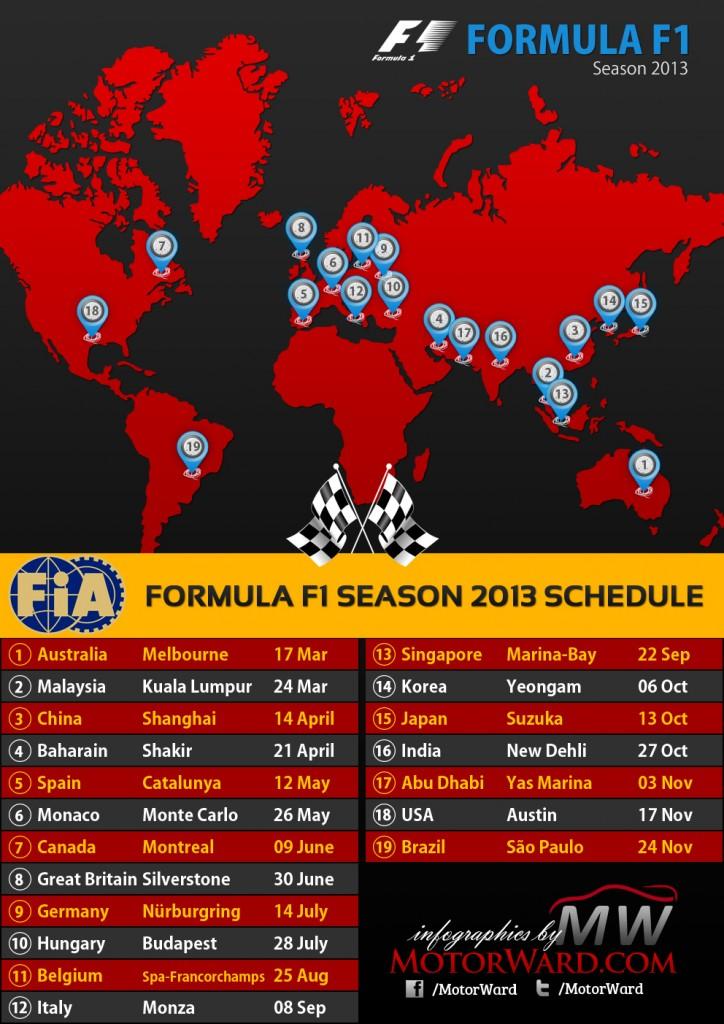 2013 Formula 1 Season Calendar