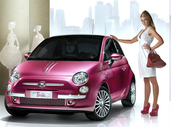 barbie fiat 500 at What's Barbie Driving? Barbies Cars History