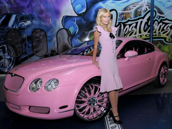 paris hilton pink bentley 600x450 at What's Barbie Driving? Barbies Cars History