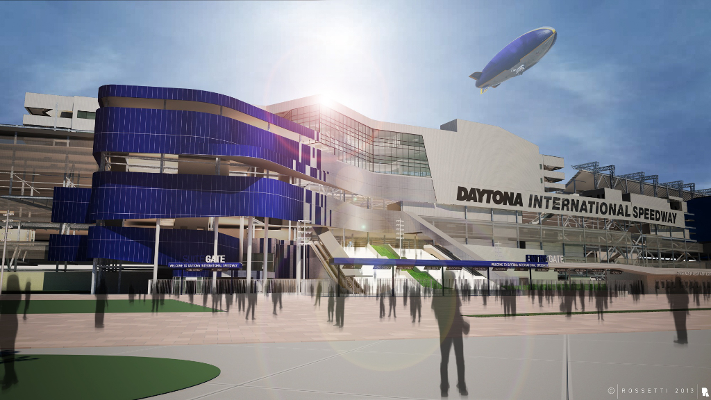 daytona international speedway entrance improvement rendering at Daytona Racetrack Improvements Signal Changes for Motorsports Fans