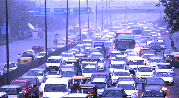 traffic and drizzle at Daily Driving Blues