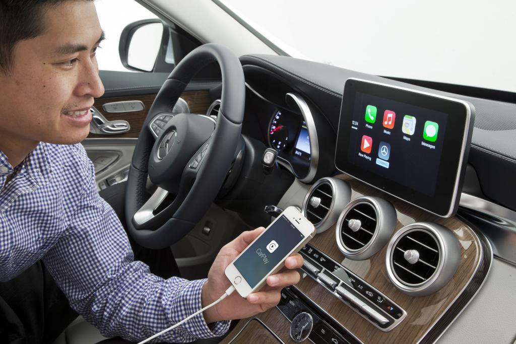 Apple CarPlay Infotainment at Apple CarPlay Infotainment Showcased on Mercedes C Class