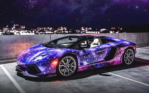 Galaxy Themed Lamborghini Aventador Roadster From Canada