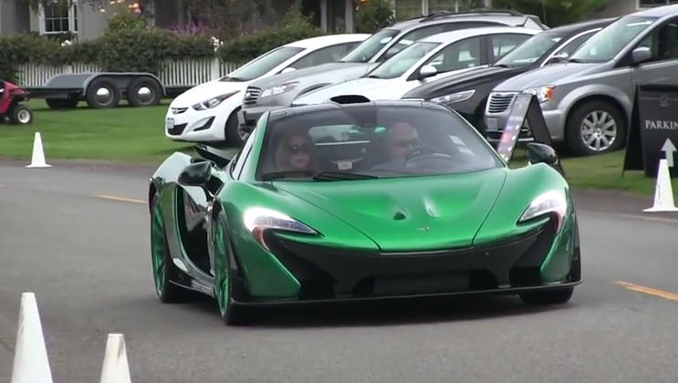 green on green mclaren p1 scooped up close