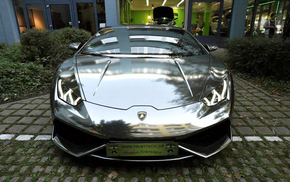 Chrome Wrapped Lamborghini Huracan By Print Tech
