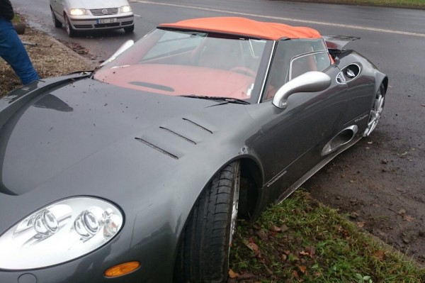 Spyker C8 Totaled 1 600x399 at Sad: Rare Spyker C8 Totaled in Latvia