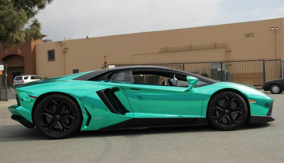 Unique Lamborghini Aventador In Turquoise Chrome