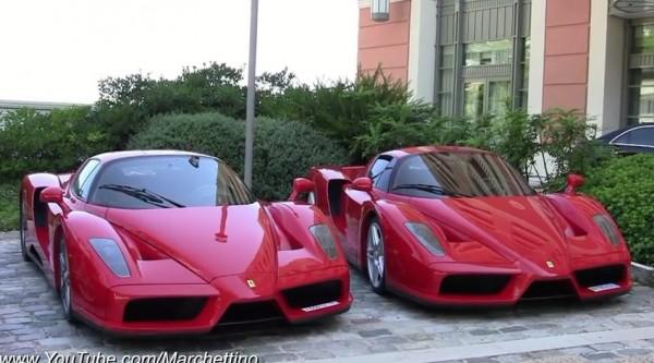 ferrari enzo duo 600x333 at Noisy: Ferrari Enzo Duo Spotted in Monaco