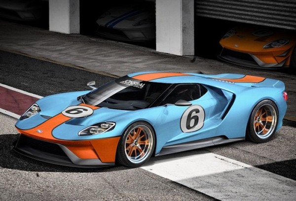Ford GT Gulf Livery 600x408 at Rendering: New Ford GT in Gulf Livery