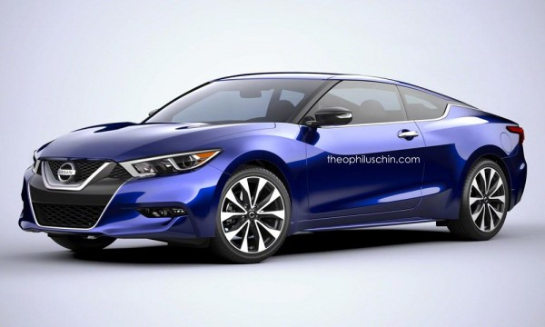 Nissan Maxima coupe 600x360 at 2016 Nissan Maxima Rendered as Coupe and Wagon