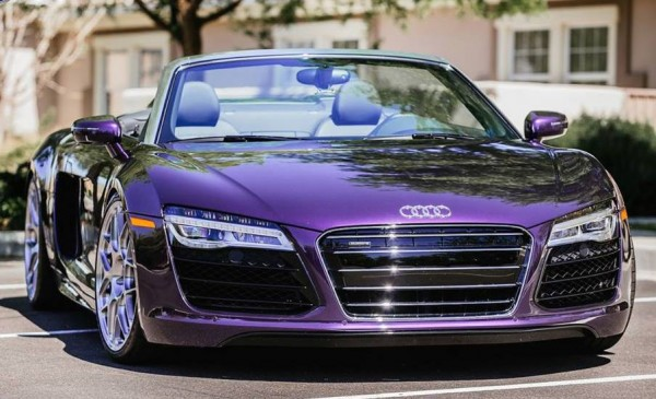 purple audi r8 0 600x365 at Gallery: Purple Audi R8 Spyder on HRE Wheels