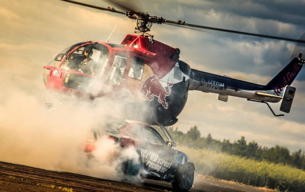 redbull helicopter drift chase 600x378 at Adrenaline Fix: Chasing a Drifting Race Car in a Helicopter
